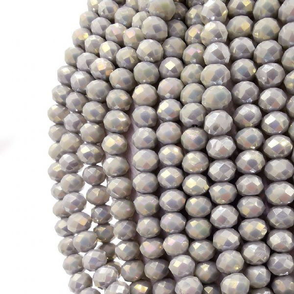 98 pcs x 6mm Glass Faceted Rondelle Beads Grey AB